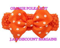 Handmade Baby Girl Polka Dot/plain Hair Bow Hairband/headband Orange