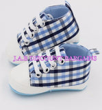Infants Baby Casual Sole Crib Shoes Prewalkers Sneaker Blue checked