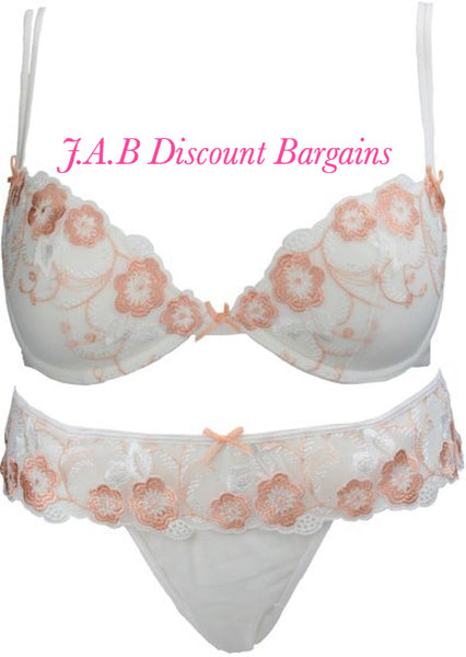 Loving moments Ivory Bra & Thong Set with Peach Flowers BA6716