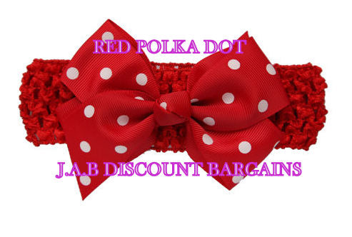 Handmade Baby Girl Polka Dot/plain Hair Bow Hairband/headband Red