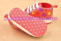 Infants Baby Casual Sole Crib Shoes Prewalkers Sneaker Pink stars