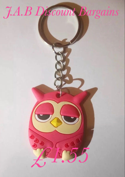 Cute Pink owl character keyring - JAB Discount Bargains