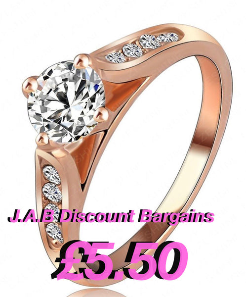 Diamond crystal rose gold filled ring - JAB Discount Bargains