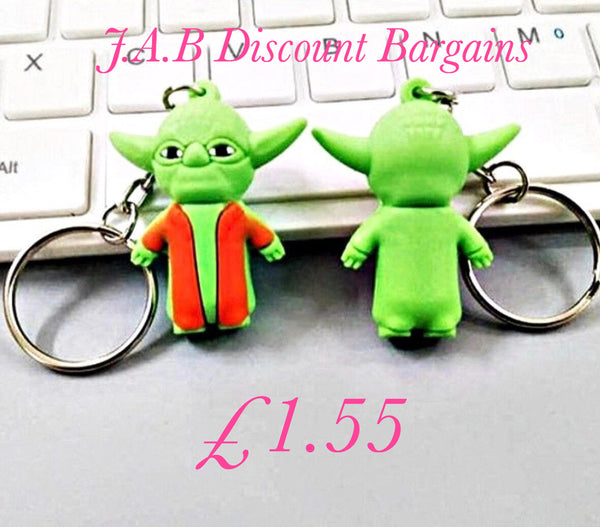Cute Star Wars master yoda character keyrings key charm - JAB Discount Bargains