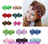 Handmade Baby Girl Polka Dot/plain Hair Bow Hairband/headband
