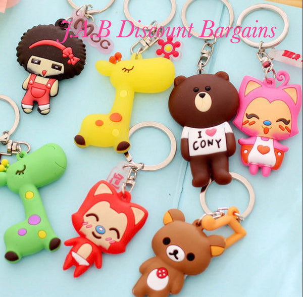 Cute bear/monkey cartoon character keyrings key charm - JAB Discount Bargains