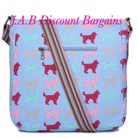 MISS LULU CANVAS SQUARE BAG DOG BEIGE OR BLUE - JAB Discount Bargains
