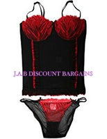 Daniel Axel Black Basque /Bustier & Thong Set Embroidered - JAB Discount Bargains