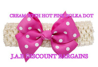 Handmade Baby Girl Polka Dot/plain Hair Bow Hairband/headband Cream