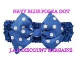Handmade Baby Girl Polka Dot/plain Hair Bow Hairband/headband Navy blue