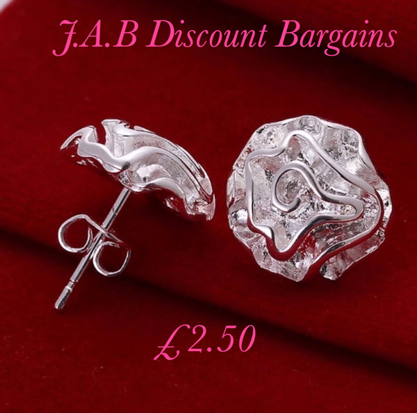 Beautiful and Cute Silver Flower Rose Stud  Earrings - JAB Discount Bargains