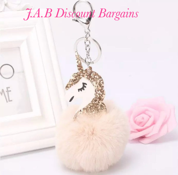 Plain unicorn Pom Pom  keyring - JAB Discount Bargains