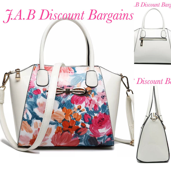MISS LULU PATENT LEATHER LOOK BOW FRONT SHOULDER HANDBAG FLORAL BLUE AND WHITE - JAB Discount Bargains