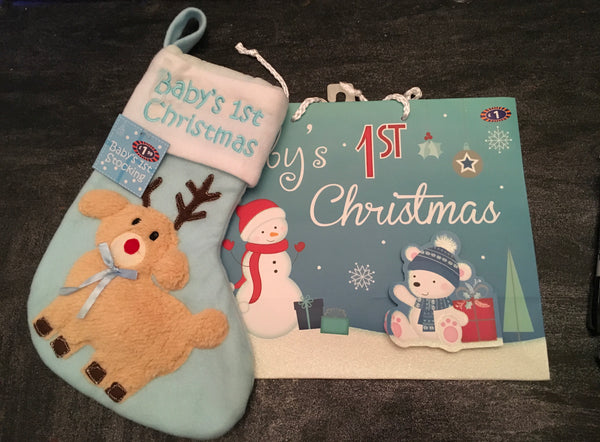 Baby boys first Christmas..... Christmas stocking and gift bag - JAB Discount Bargains