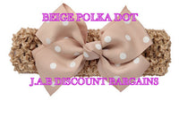 Handmade Baby Girl Polka Dot/plain Hair Bow Hairband/headband Beige