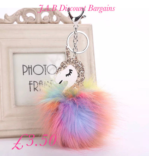 Faux Fur rainbow unicorn Pompom Keyring Bag Charm Keychain - JAB Discount Bargains