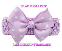 Handmade Baby Girl Polka Dot/plain Hair Bow Hairband/headband Lilac