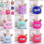 CARTOON OWL WEARING GLASSES FAUX FUR BAG PENDANT KEY CHAIN KEYRING - JAB Discount Bargains