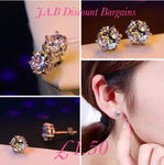 925 silver plated fashion zircon earrings exquisite gift - JAB Discount Bargains