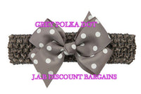 Handmade Baby Girl Polka Dot/plain Hair Bow Hairband/headband Grey