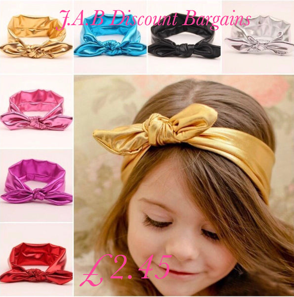 Baby and Little Girls Metallic Bow Knot wide Headbands - JAB Discount Bargains