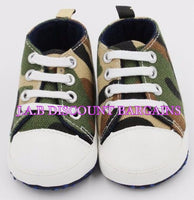 Infants Baby Casual Sole Crib Shoes Prewalkers Sneaker Army