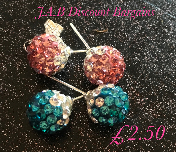 Round  Luxurious Rhinestone stud Earrings - JAB Discount Bargains