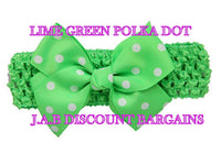 Handmade Baby Girl Polka Dot/plain Hair Bow Hairband/headband Lime green