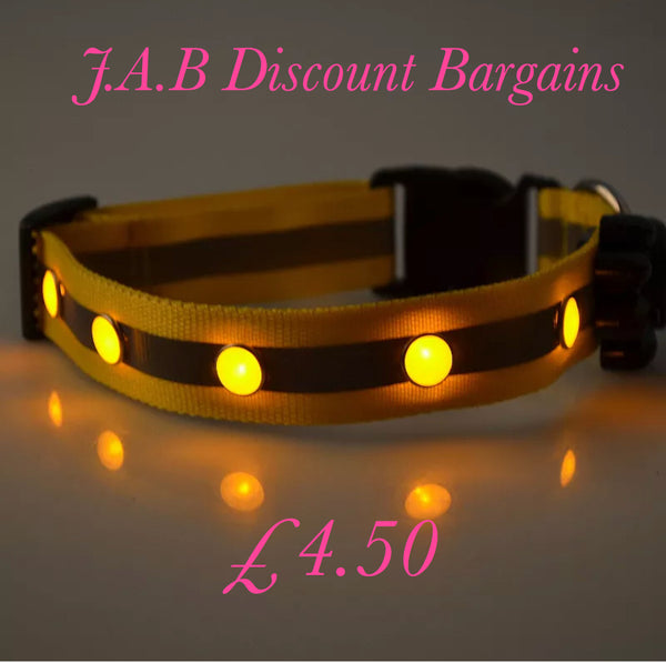 Adjustable Dog Collar LED Gem Light Flashing Glow Luminous With Refective Strip Yellow - JAB Discount Bargains