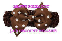 Handmade Baby Girl Polka Dot/plain Hair Bow Hairband/headband Brown