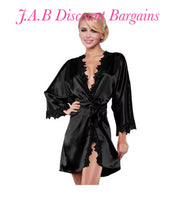Luxury side lace  sexy lingerie dressing gown Kimono - JAB Discount Bargains