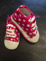 Infants Baby Casual Sole Crib Shoes Prewalkers Sneaker Pink spotty