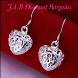 Chic Silver Ear Rings Fashion hollow HEART Drop Earrings - JAB Discount Bargains