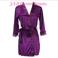 Ladies sexy lingerie satin dressing gown set - JAB Discount Bargains