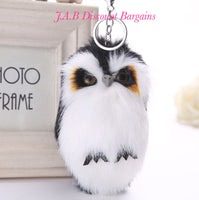 Plush faux fur owl keyring keycharm handbag accessory