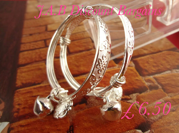 Small Bell charm patterned  Silver Plated Childrens bangle - JAB Discount Bargains