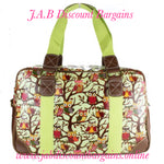 MISS LULU OILCLOTH TRAVEL BAG OWL GREEN - JAB Discount Bargains