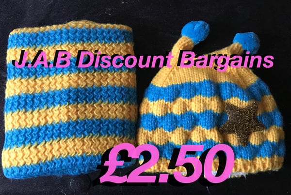 Baby bubble bee knitted hat & scarf/neck warmer set - JAB Discount Bargains