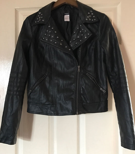 Used La Redoute black faux leather biker studded jacket size 8 - JAB Discount Bargains