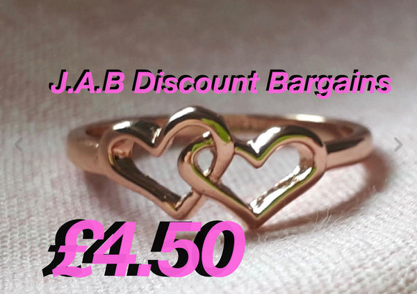 Lovely Double Heart Rose Gold GP Ring
