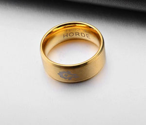 World of Warcraft Ring Goldcolor Stainless Steel and Legend Of