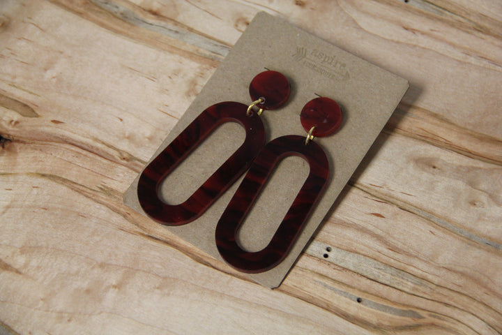 Acrylic Oval Drop Earrings