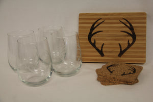 Bar Gift Set (Board, 4 X Glasses, 4 X Coasters)