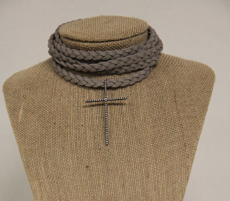 Braided Necklace with Cross