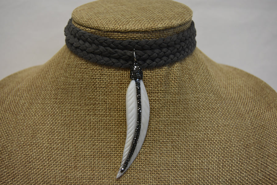 Braided Necklace with Pendant