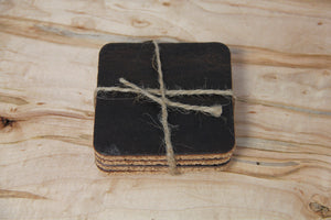 Leather And Cork Coasters (set 4)