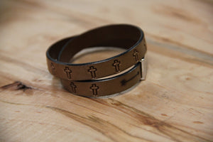 Double Wrap Bracelet With Cross Stamp