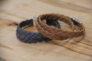 Double Wrap Braided Leather Bracelet