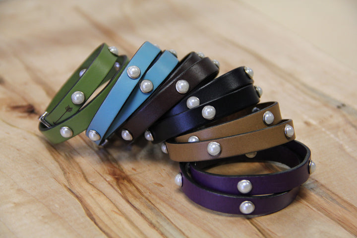 Double Wrap Bracelet With Pearl Rivets