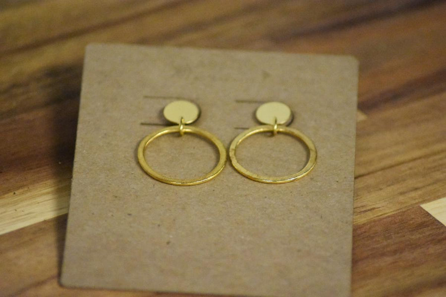 Gold Ring Stud Earrings